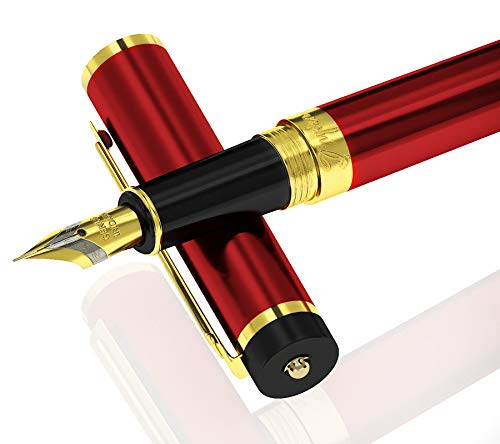 DRYDEN Luxury Fountain Pen [DANGEROUS RED] - BEST Fountain Pens Gift Set - Smooth Elegant Writing - Calligraphy - FREE Ink Refill Converter -