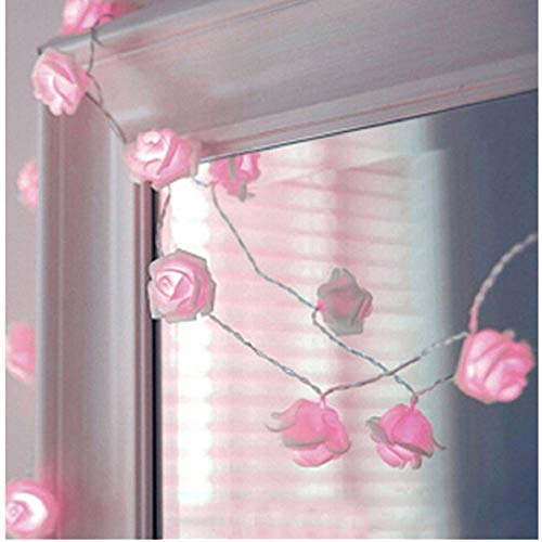 Syhonic 20 LED Battery Operated Rose Flower String Light Wedding Garden Chrismas Decor (Pink)