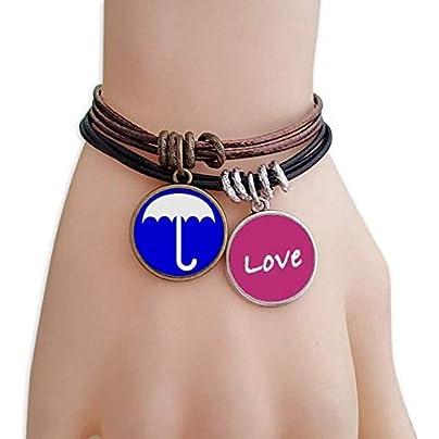 Metftus Rain Blue Square Warning Mark Love Bracelet Leather Rope Wristband Couple Set Estimated Price -