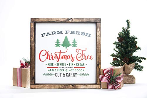 Christmas Tree Vintage Wood Sign in Farmhouse Frame 12in x 12in