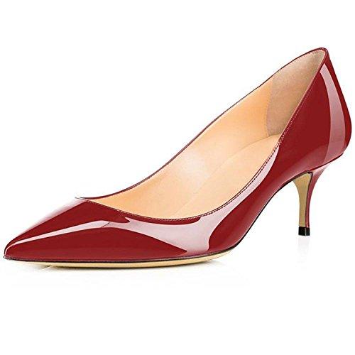 Twinkle UU Spring Patent 6.5 cm Stilettos Kitten Heels Black Nude Red Pumps Bride Wedding Shoes US Size 5-15 Wine Red 15
