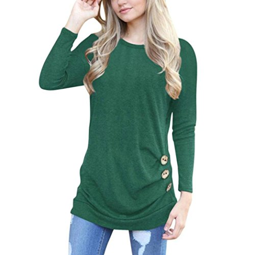 - Lightning Deals Tunic Top,ZYooh Women Short Sleeve Loose Button Trim Blouse Solid Color Round Neck Blouse T-Shirt (Green, XL)