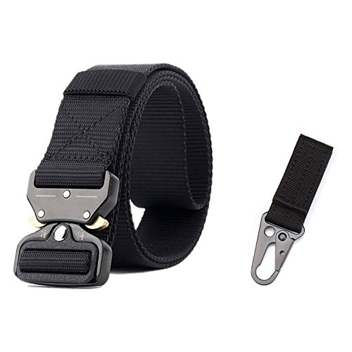 VOCHIC Mens Adjustable Heavy Duty Tactical Belt Military Web Belts with Key Chain - Belt Adjustable Loop