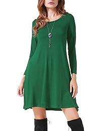 Women's Casual Long Sleeve Loose Simple Flowy Swing T-Shirt Dress