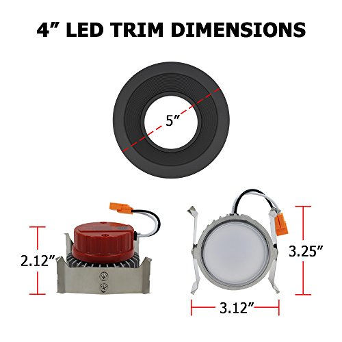 ESD Tech 6 Pack of 4'' Inch LED Dimmable Recessed Downlight Trim, Black Round Baffle Retrofit, 5000K, 650 Lm, 9W, 120V, Energy Star, ETL Listed, Indoor/Outdoor Rated by ESD TECH (Image #4)