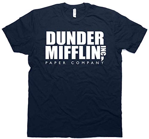 Daft Threads ~ Dunder Mifflin Office T-Shirt & Sticker Navy Blue (Medium)