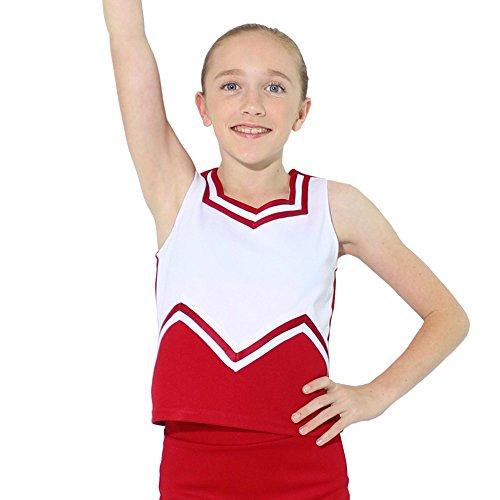 - Danzcue Girls M Sweetheart Cheerleaders Uniform Shell Top, Scarlet-White, X-Small