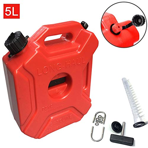Cozyel Gas Can 1.3 Gallon Portable Fuel Oil Petrol Diesel Gas Storage Tank Emergency Backup for Motorcycle Car SUV ATV with Lock Oil Pack Fuel Cans Fuel (Red-5L)