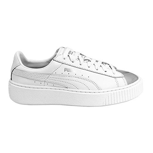 Puma Femme 36616901 Blanc Basses Basket Sneakers Platform Metallic wTUqpw