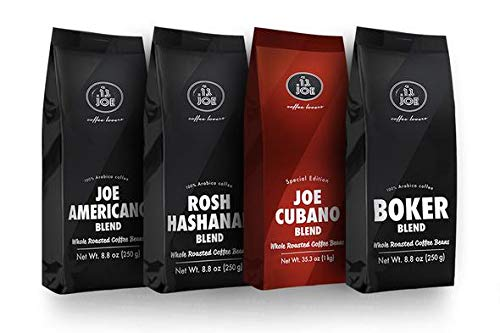 Whole Bean Coffee Blends Variety Pack - Joe Americano, Joe Cubano, Rosh Hashanah and Boker Blend Light and Dark Roast, Whole Coffee Beans from Cafe Joe USA, Four 250g (8.8 Oz) Bags