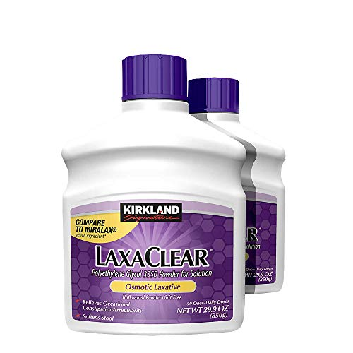 Kirkland Signature - LaxaClear, 100 Daily Doses, 59.8 Ounce (Compare to MiraLax) (Polyethylene Glycol 3350 Powder For Oral Solution)