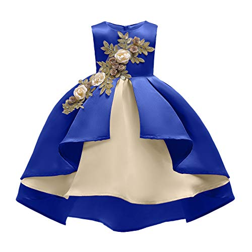 AIMJCHLD Party Dress for Toddler Little Baby Girls Flower Wedding Dresses Pageant Prom Ball Gowns Fancy Performance Formal Tulle Lace Dress with Applique Size 2 3 Years (Royal Blue 100)]()