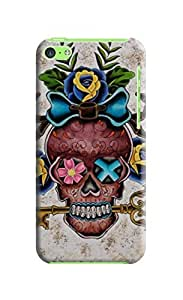 LarryToliver Personalized Custom Cheap unique Beautiful Skull Arts Of Background image Cover Case for iphone 5c #1