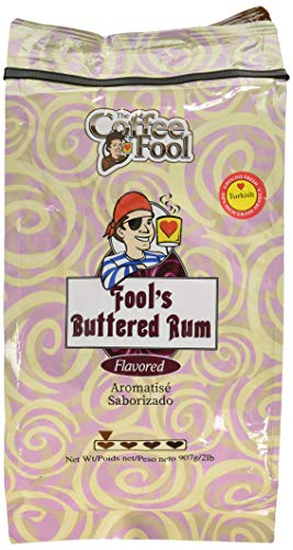 The Coffee Fool Buttered Rum Ground Coffee, Turkish Powder, 2 Pound
