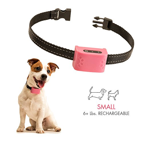 Small Dog Bark Collar For Tiny To Medium Dogs (6+ lbs). Rechargeable And Waterproof Anti Bark Training Device. Humane Way to Stop Barking – No Shock No Spiky Prongs! (Pink)