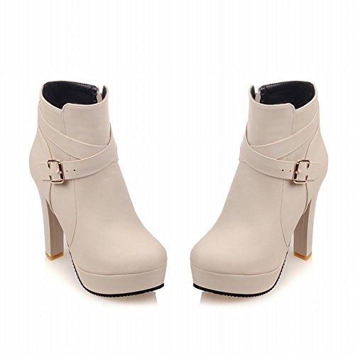 Mee Shoes Damen high heels Plateau runde Reißverschluss Ankle Boots Hellaprikose