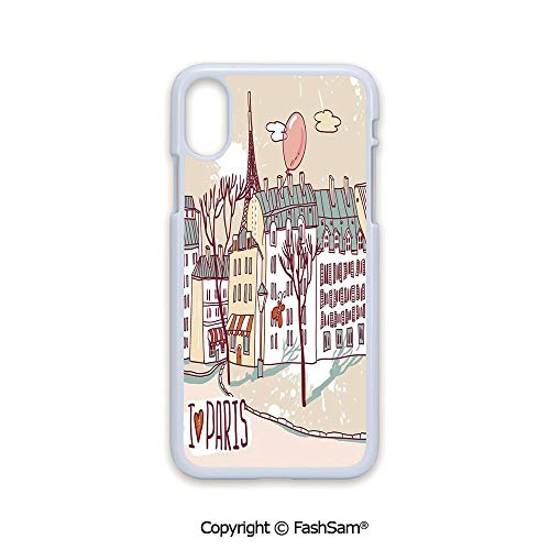 Phone Case Compatible with iPhone X Black Edge Illustration of Paris with Old City Buildings and Eiffel Urban Street Balloon 2D Print Hard Plastic Phone Case