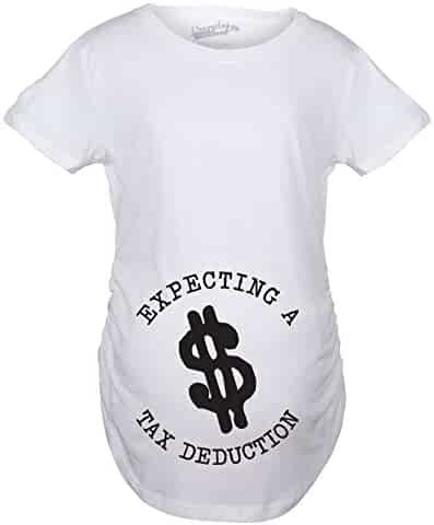 f6c1a78920744 Crazy Dog T-Shirts Maternity Tax Deduction Funny Im Pregnant Tee Hilarious Announce  Pregnancy T