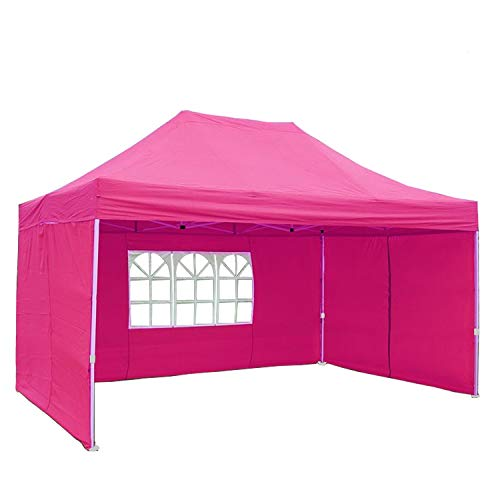 DELTA Canopies 10'x15' Ez Pop up Canopy Party Tent Instant Gazebos 100% Waterproof Top with 4 Removable Sides Pink - E ()