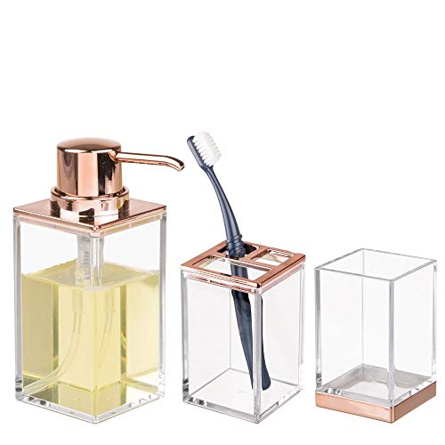 (mDesign Bathroom Accessory Set, Soap Dispenser Pump, Toothbrush Holder Stand, Tumbler Cup - Set of 3, Clear/Rose Gold)