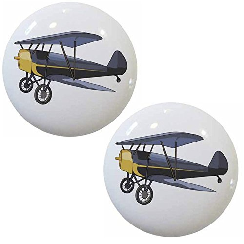 (Set of 2 Vintage Airplane Biplane Ceramic Cabinet Drawer Knobs)