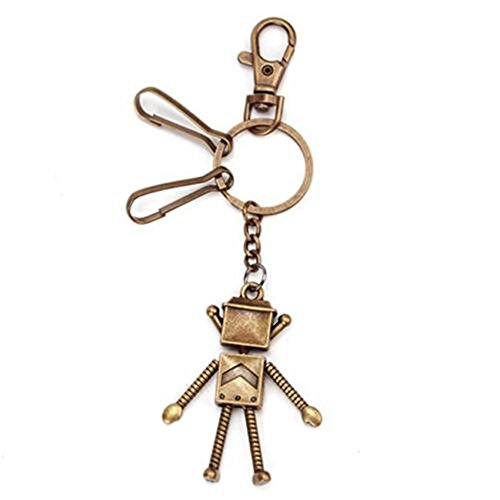 Antique Bronze Alloy Photo Frame Crafts Split Ring Keyring Charms Keychain Lobster Clasp (Robot) (Robot Keyring compare prices)