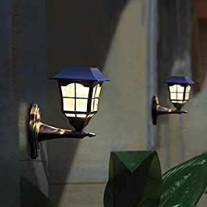 Maggift Solar Wall Lantern Outdoor Wall Sconce Solar Outdoor Led Light Fixture with Wall Mount Kit (2 Pack)