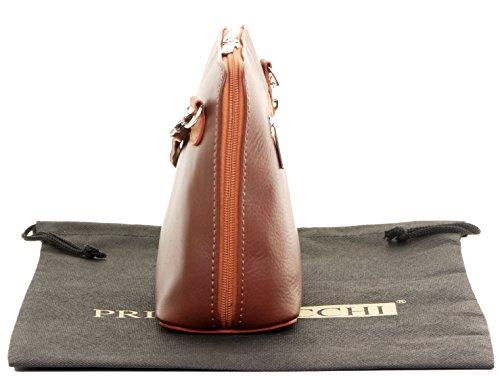 Small Soft Sacchi Handbag Mid Leather Hand Body Brown Tan Italian Made Bag or Micro amp; Primo Bag Cross Shoulder 6YwxAA