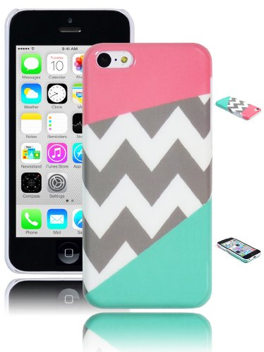 Bastex Heavy Duty Case for iPhone 5c - Coral Pink & Teal Chevron Snap On Case / Cover