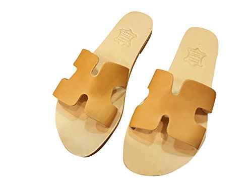 61c91455acc8 Ancient Greek Style Leather H Sandals Roman Handmade Womens Slide Slip-on  Shoes Gladiator Spartan