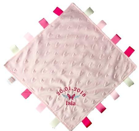 Personalizado Bordado Rosa Mariposa Dimple - Manta de bebé con satén etiquetas: Amazon.es: Bebé