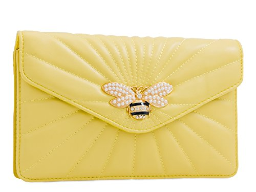 Handbag Women's Clutch Charm Bag Insect Evening Ladies Bee Quilted Serenity KL2245 Pearl Bag xwqn5Cn6v