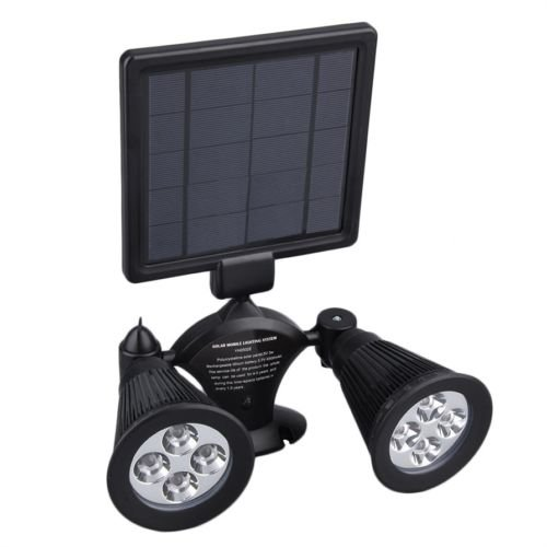 Alicenter(TM) Double Lamp Heads Mobile 360?? Rotate LED Solar Spot Light Outdoor Security L by Alicenter
