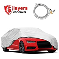"""RVMasking Heavy Duty 6 Layers Car Cover Fits 170"""" - 185"""" Length Sedan, Waterproof All Weather Hail Proof UV Protection Winter Snow Full Car Protector Covers with Anti-Theft Lock"""