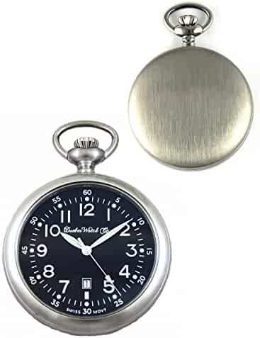 Dueber Swiss, Military Style Pocket Watch, Black Dial, Luminous Hands, Satin Steel
