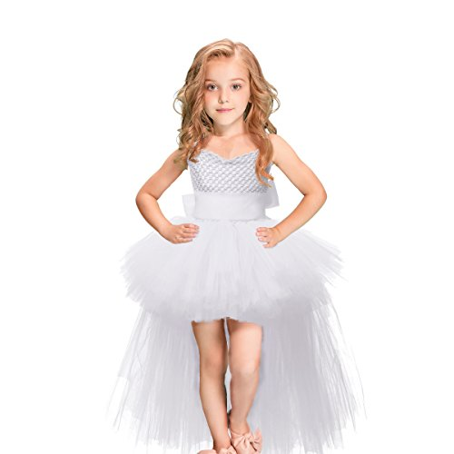 LEEGEEL Handmade Girls Tutu Dresses Girls Tulle Dress for Birthday Party, Photography Prop, Special Occasion White