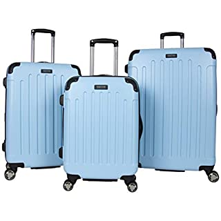 """Kenneth Cole Reaction Renegade 3-Piece Lightweight Hardside Expandable 8-Wheel Spinner Travel Luggage Set: 20"""" Carry-on, 24"""", 28"""" Suitcases, Sky Blue"""