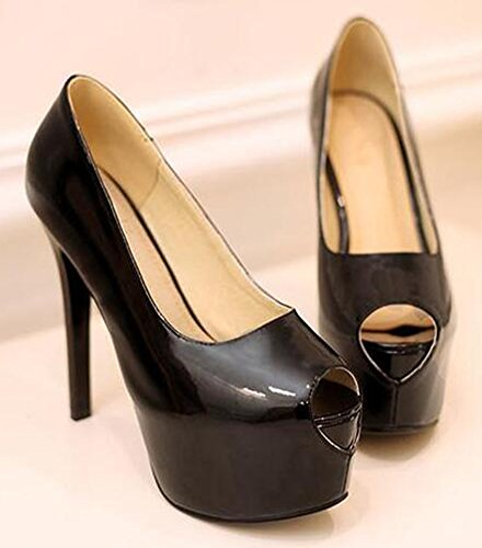 Easemax Womens Sexy Peep Toe High Stilettos Heels Pumps Black 5AJYxj