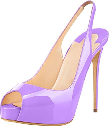 Trusify Mujer 12cm EU tamaño 34-46 Truwidow Tacón de aguja 12CM Sintético Sandalias de vestir Morado