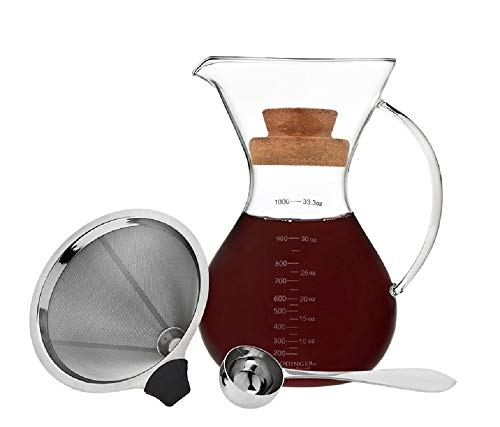 Godinger Coffee Maker Pour Over Drip Brew Coffee, Includes Spoon and Cork Lid - 1L / 7 Cups (Best Coffee Brewing Method)