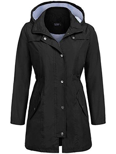 SoTeer Raincoat Women Waterproof with Hood Lightweight Active Outdoor Rain Jacket Windbreaker (Black, ()