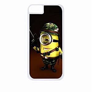 Soldier Minion- Hard White Plastic Snap - On Case with Soft Black Rubber Lining-Apple Iphone 5 - 5s - Great Quality!