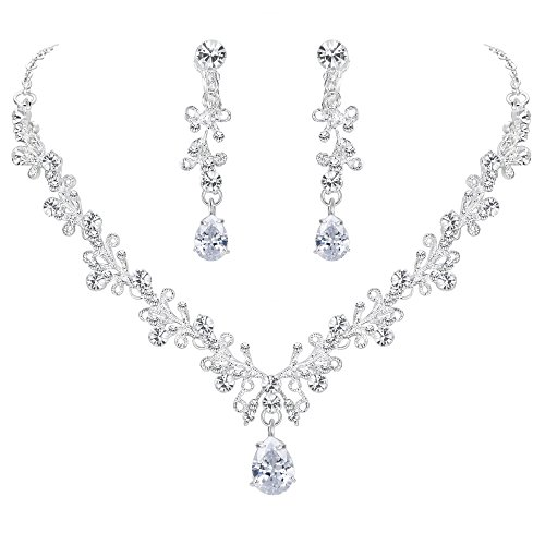 BriLove Wedding Bridal Necklace Earrings Jewelry Set CZ Crystal Leaf Vine Floral Scroll Teardrop V-Necklace Clip-On Earrings Set Clear Silver-Tone
