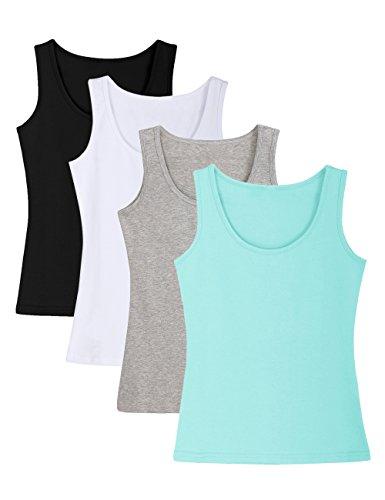 Ladies Camisole - ADAMARIS Cotton Camisoles for Women Tank Tops for Women Pack Camis Vest White Red