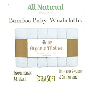 """ORGANIC MOTHER 6 EXTRA SOFT Baby Bath Washcloths, 100% Natural Bamboo Towels, Dye Free, Perfect for Sensitive Baby Skin, 100% Organic, Hypoallergenic, All Natural, Bamboo, Eco Friendly- SIZE 10"""" X10"""""""