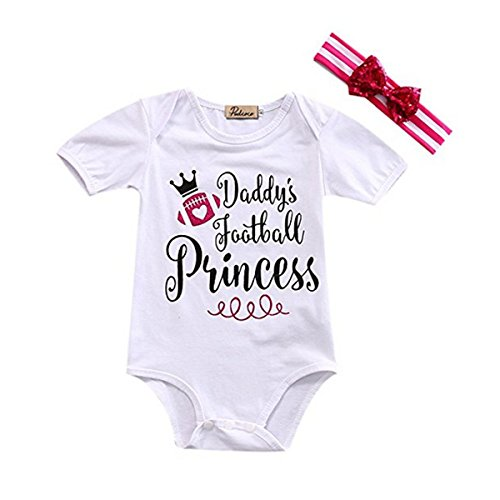 Baby Girls Daddy's Football Princess Romper Bodysuit and Big Bowknot Headband Outfit (3-6M, White)