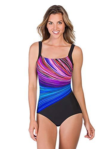 Reebok Women's Swimwear Firewater Bust Minimizer Scoop Neckline One Piece Swimsuit, Multicolored, 10