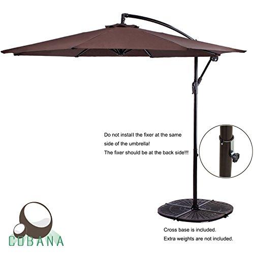 COBANA 10 Feet Cantilever Freestanding Patio Umbrella with Crank and Base, Polyester, (Patio Market Umbrella Base)