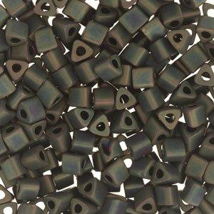 Frosted Metallic Iris Green Brown Toho Seed Beads Triangle 8/0 (1 (Frosted Metallic Iris)