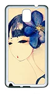 Awesome Protective Soft PC Phone White Case Cover For Samsung Galaxy Note3 N9000 with Blue Girl